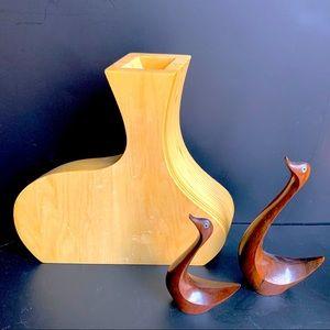 v i n t a g e :: Large Midcentury MCM Wooden Vase